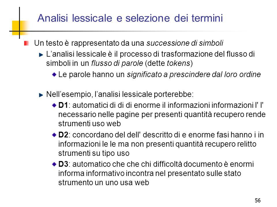 Analisi lessicale e selezione dei termini