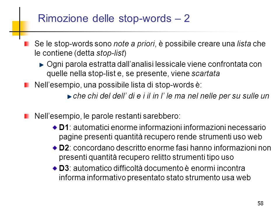 Rimozione delle stop-words – 2