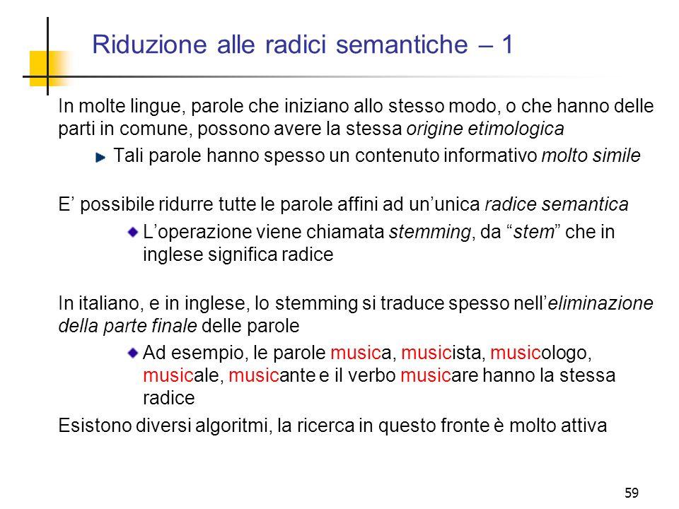 Riduzione alle radici semantiche – 1