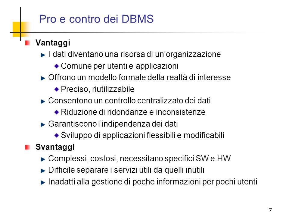 Pro e contro dei DBMS Vantaggi