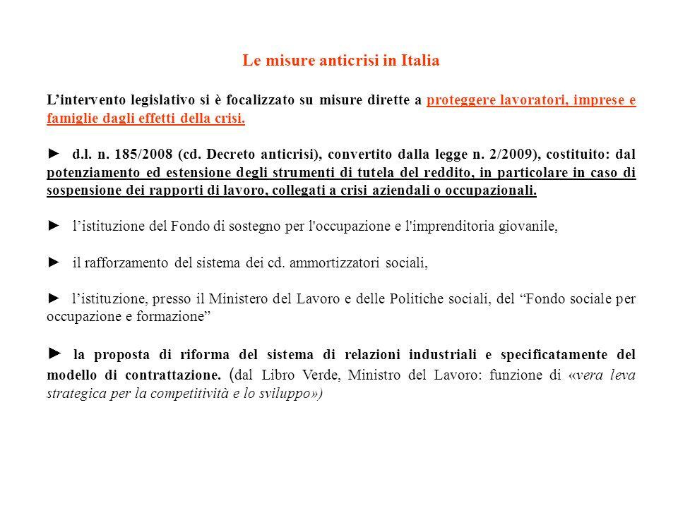 Le misure anticrisi in Italia