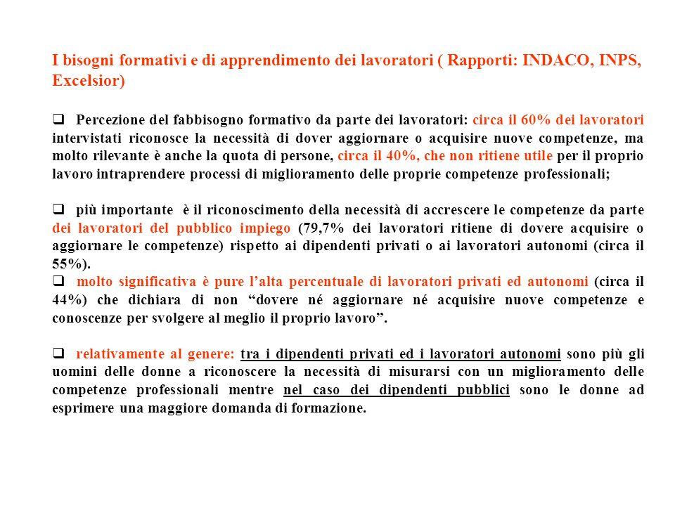 I bisogni formativi e di apprendimento dei lavoratori ( Rapporti: INDACO, INPS, Excelsior)