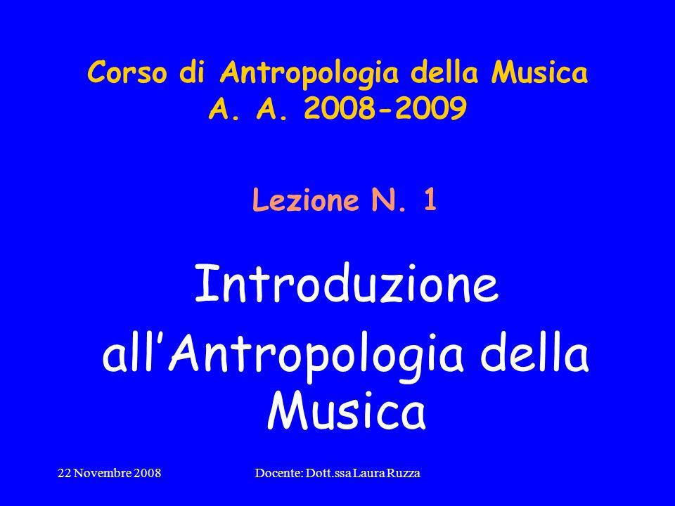 Corso di Antropologia della Musica A. A. 2008-2009