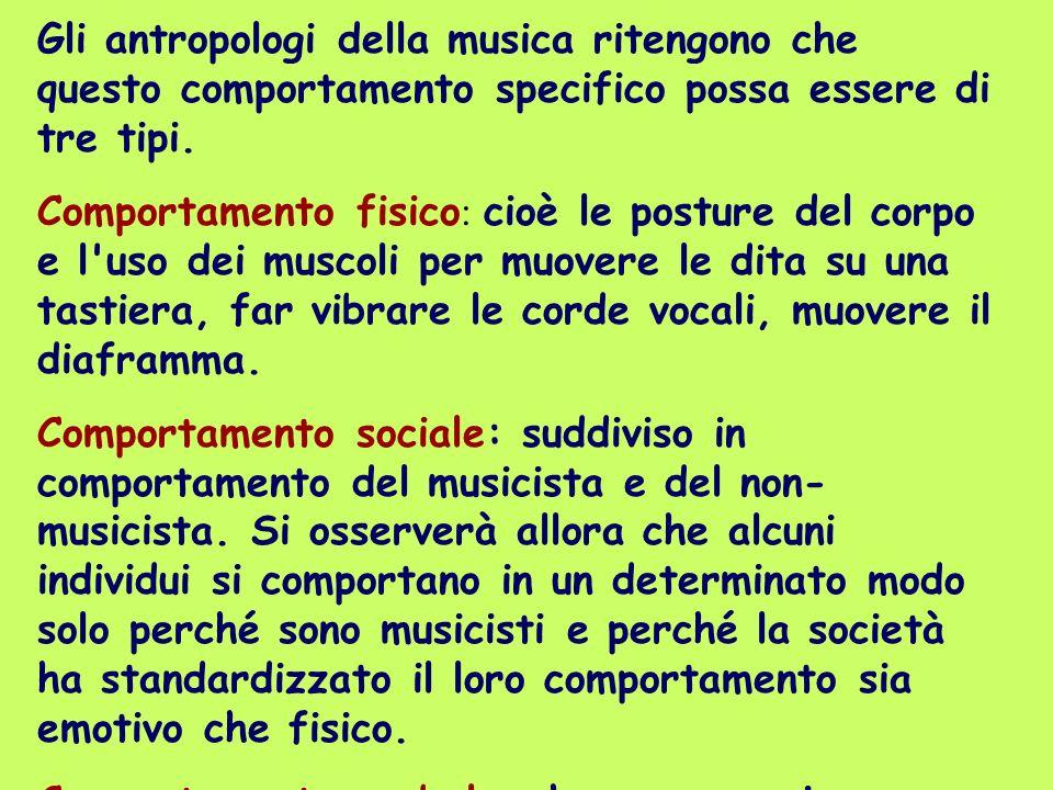 Gli antropologi della musica ritengono che questo comportamento specifico possa essere di tre tipi.