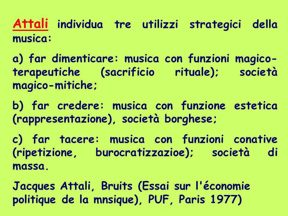 Attali individua tre utilizzi strategici della musica:
