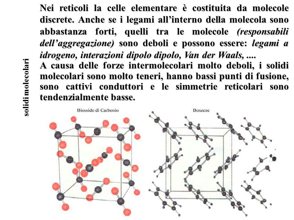 Nei reticoli la celle elementare è costituita da molecole discrete