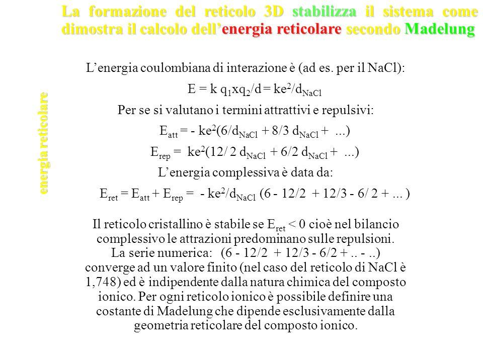 La formazione del reticolo 3D stabilizza il sistema come dimostra il calcolo dell'energia reticolare secondo Madelung