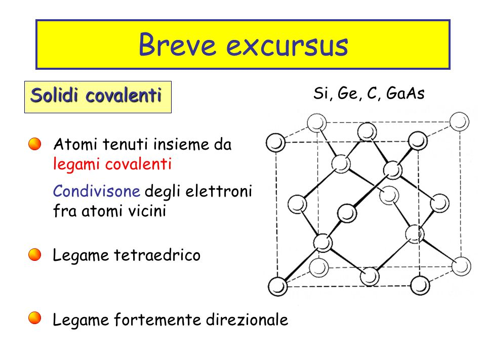 Breve excursus Solidi covalenti Si, Ge, C, GaAs
