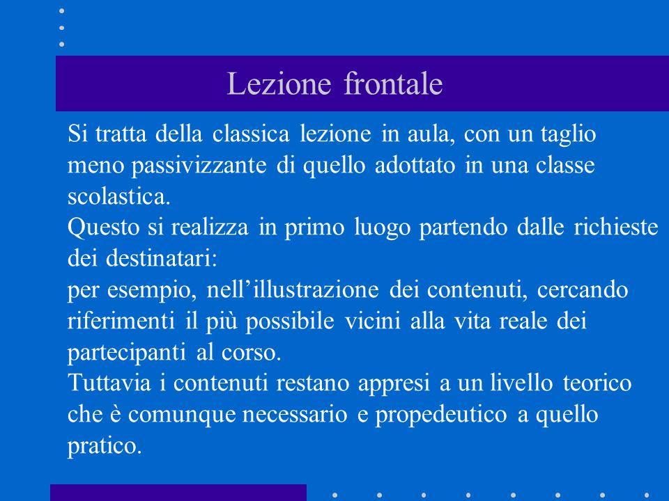 Lezione frontale Si tratta della classica lezione in aula, con un taglio meno passivizzante di quello adottato in una classe scolastica.