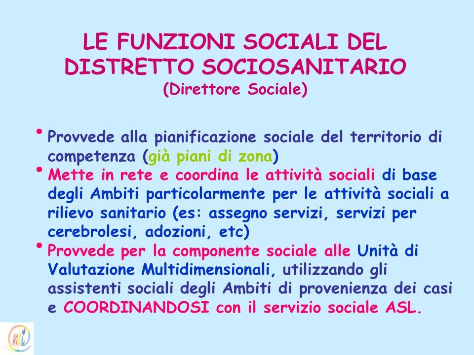 LE FUNZIONI SOCIALI DEL DISTRETTO SOCIOSANITARIO (Direttore Sociale)