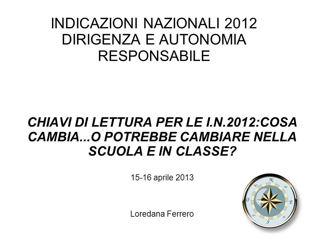 INDICAZIONI NAZIONALI 2012 DIRIGENZA E AUTONOMIA RESPONSABILE