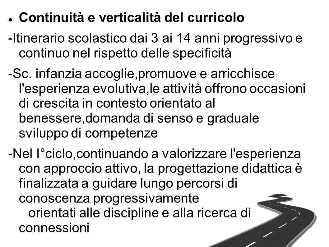 Continuità e verticalità del curricolo