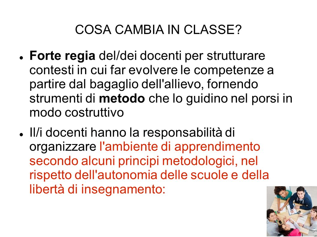 COSA CAMBIA IN CLASSE