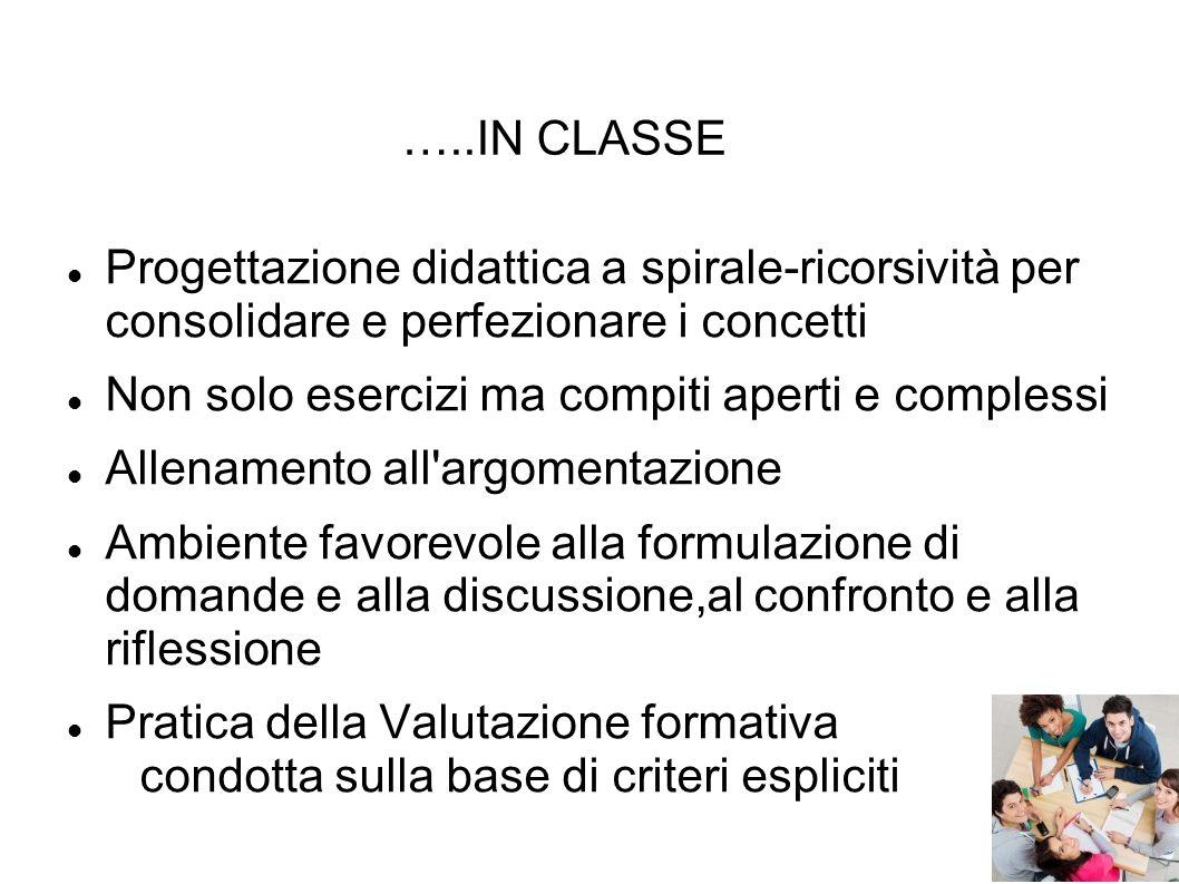 …..IN CLASSE Progettazione didattica a spirale-ricorsività per consolidare e perfezionare i concetti.
