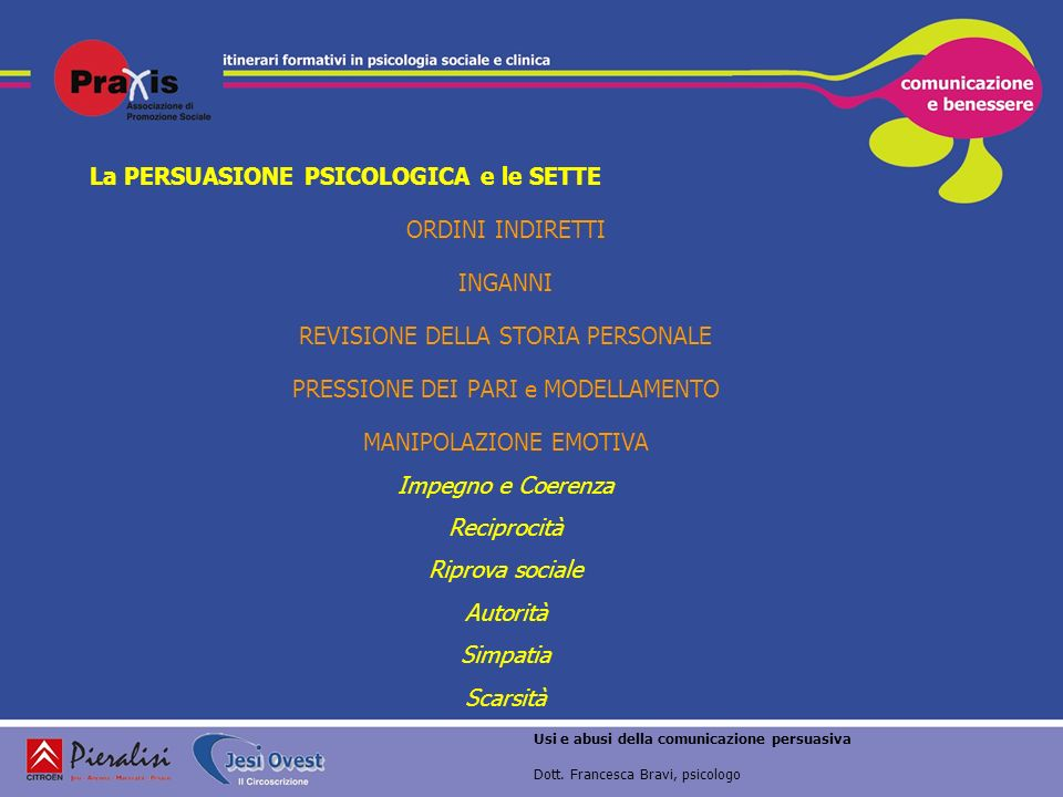 La PERSUASIONE PSICOLOGICA e le SETTE ORDINI INDIRETTI INGANNI