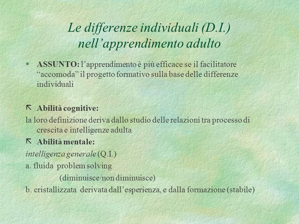 Le differenze individuali (D.I.) nell'apprendimento adulto