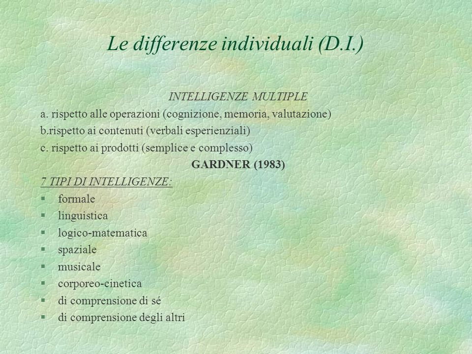 Le differenze individuali (D.I.)