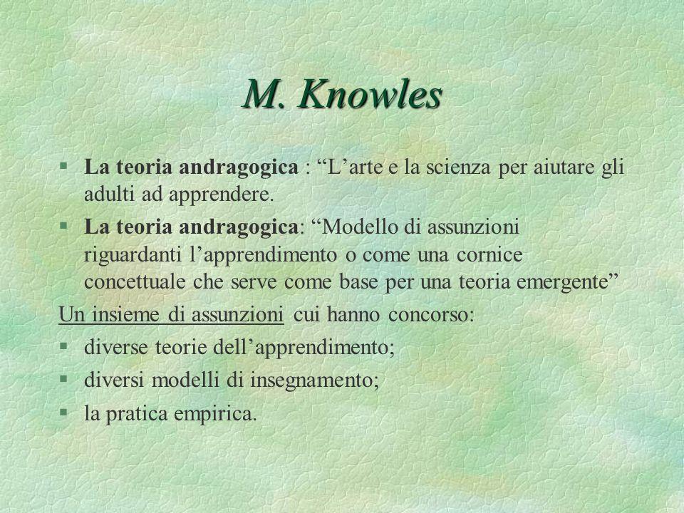 M. Knowles La teoria andragogica : L'arte e la scienza per aiutare gli adulti ad apprendere.