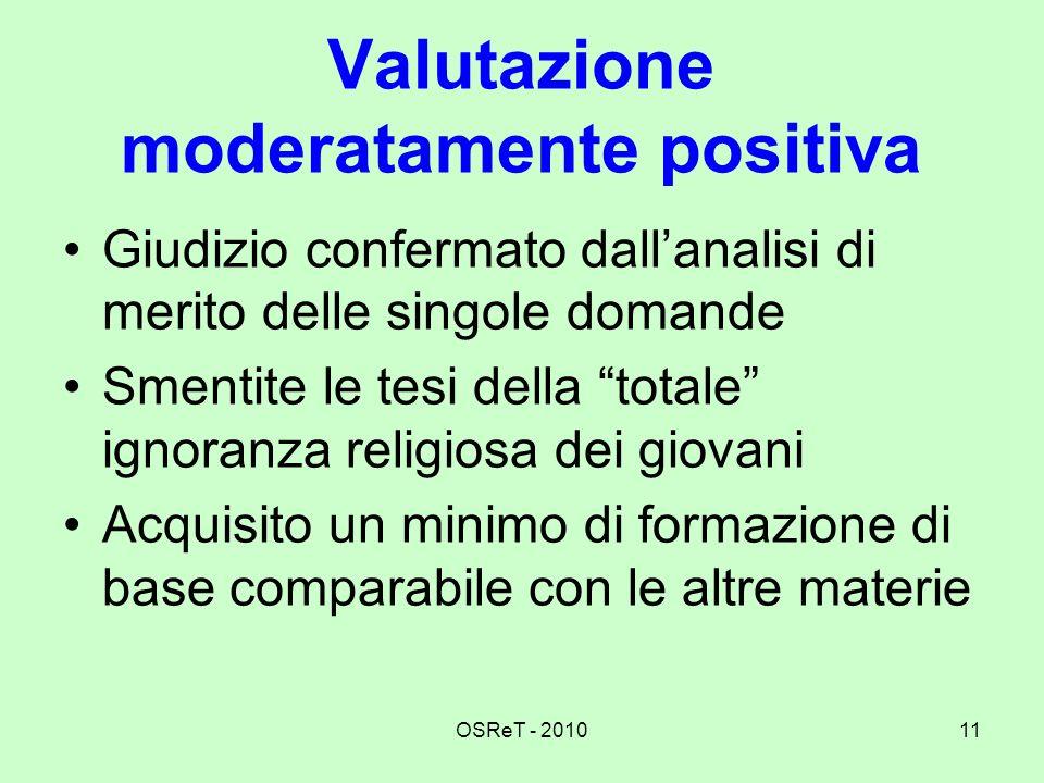 Valutazione moderatamente positiva