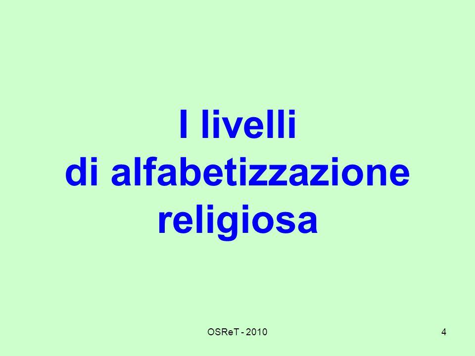 I livelli di alfabetizzazione religiosa