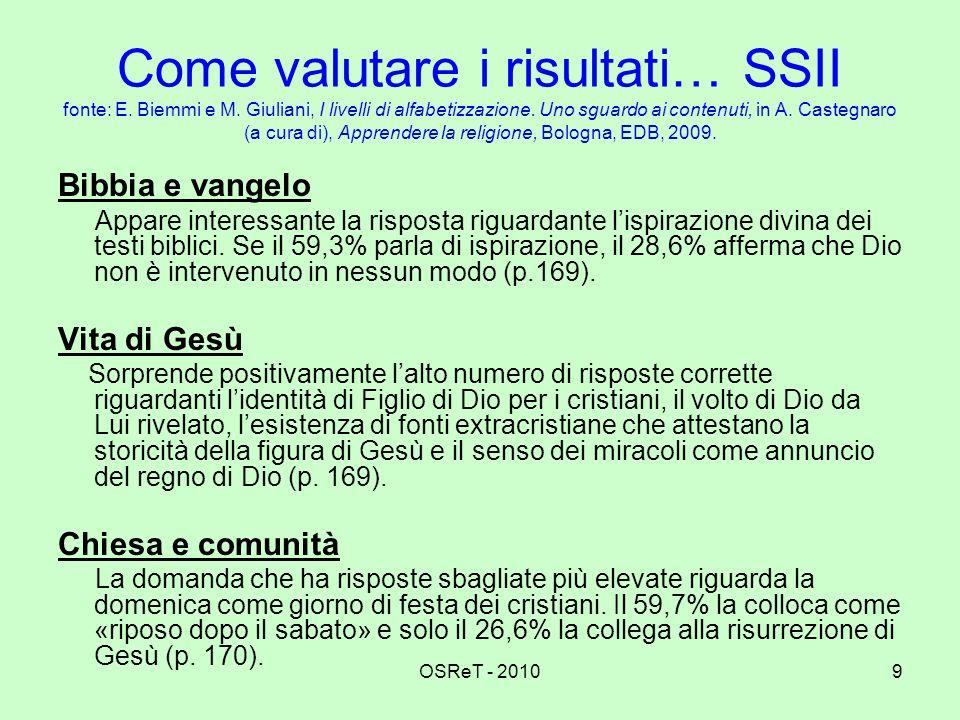 Come valutare i risultati… SSII fonte: E. Biemmi e M