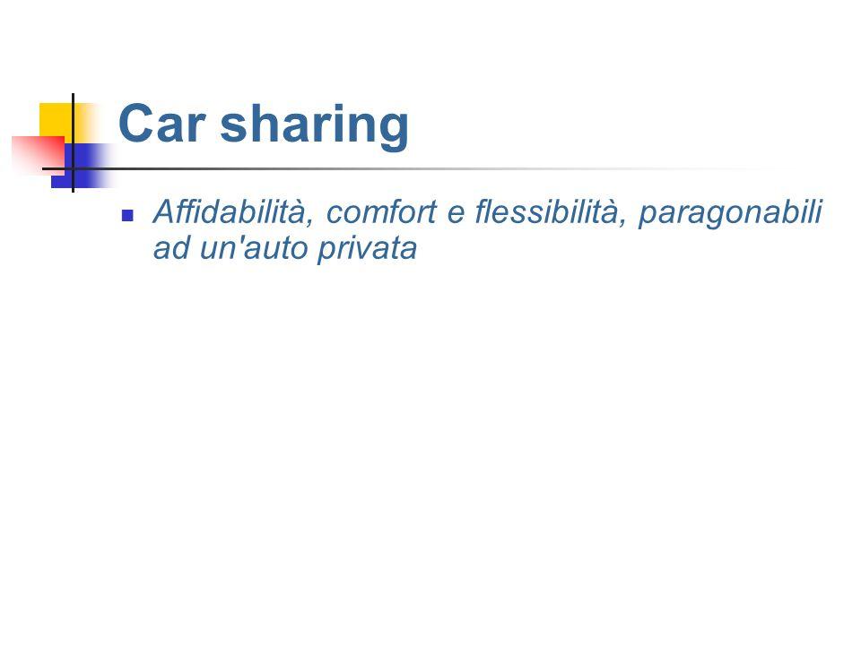 Car sharing Affidabilità, comfort e flessibilità, paragonabili ad un auto privata
