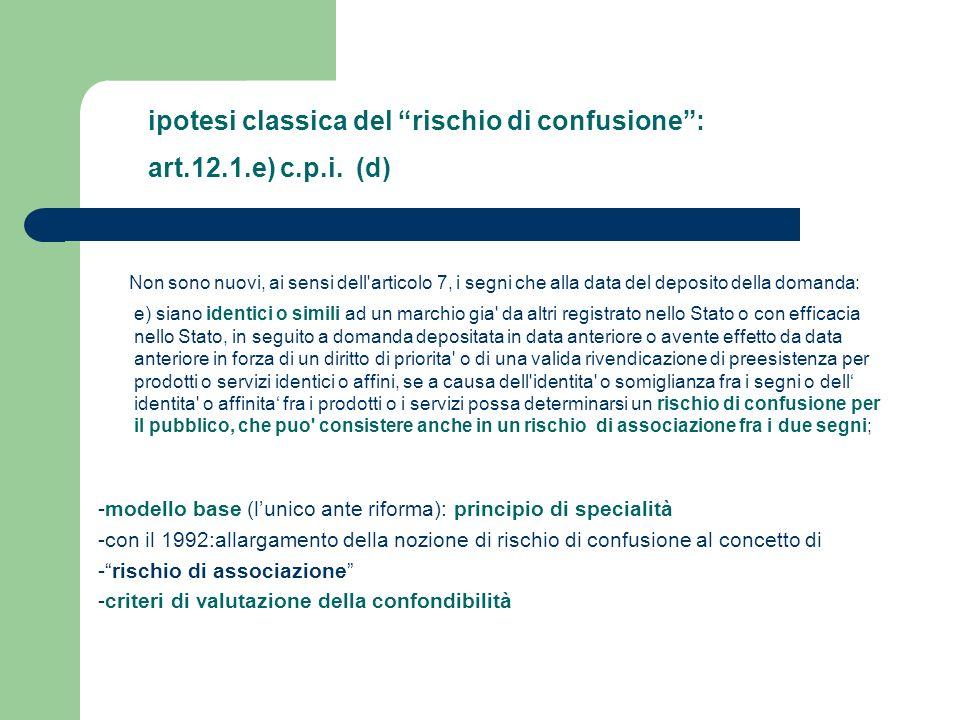 ipotesi classica del rischio di confusione : art.12.1.e) c.p.i. (d)