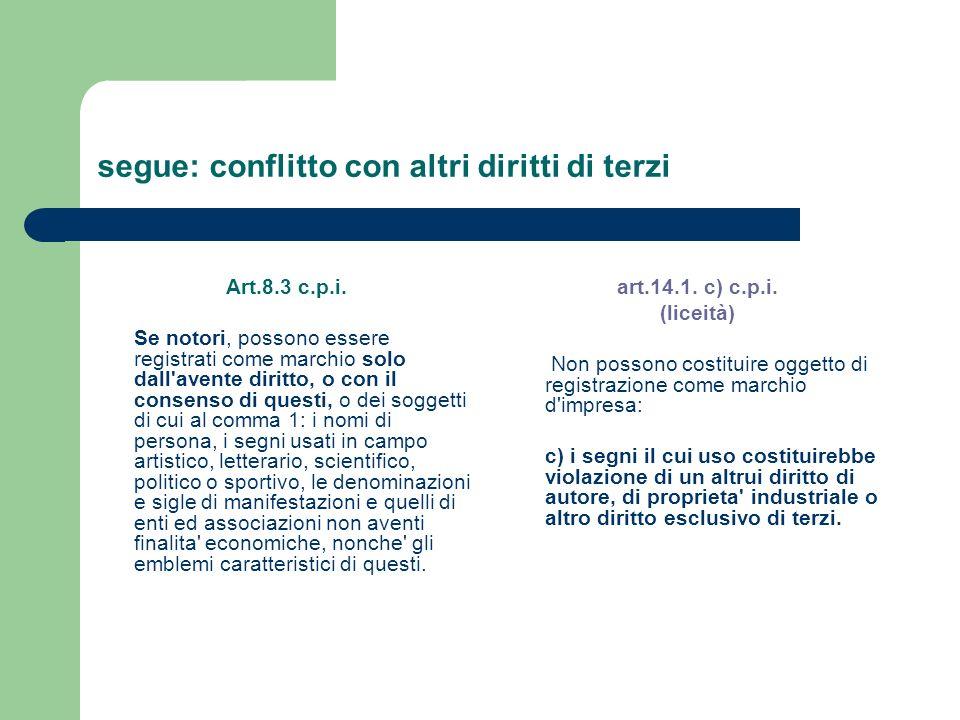segue: conflitto con altri diritti di terzi