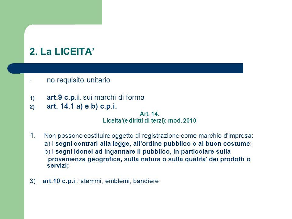 Liceita'(e diritti di terzi): mod. 2010