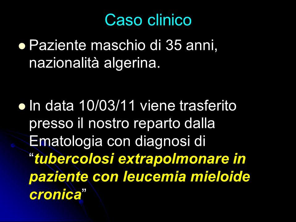 Caso clinico Paziente maschio di 35 anni, nazionalità algerina.