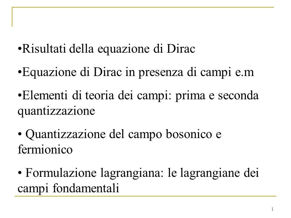 Risultati della equazione di Dirac