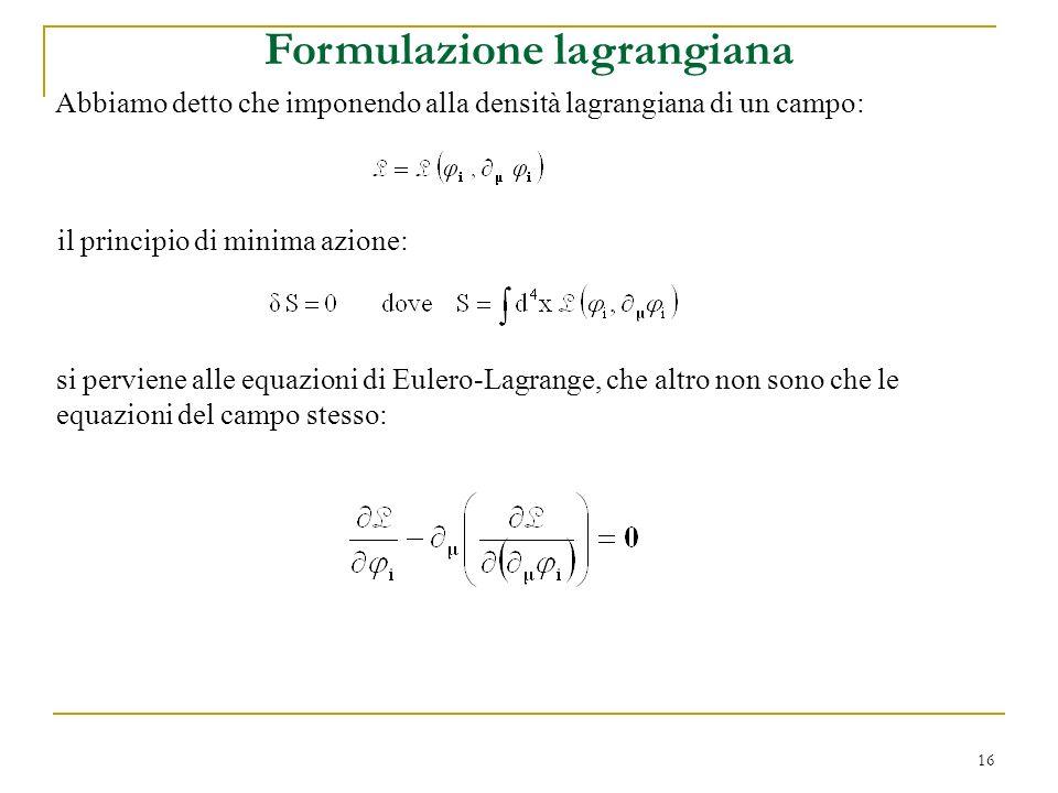 Formulazione lagrangiana
