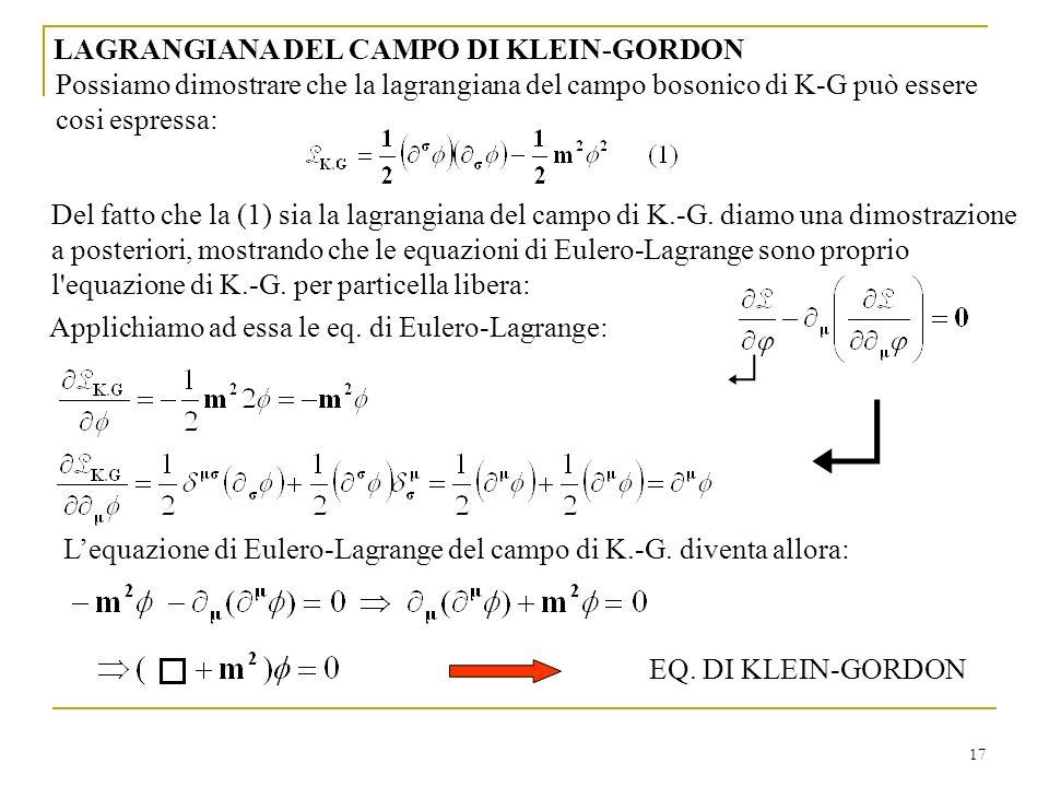  LAGRANGIANA DEL CAMPO DI KLEIN-GORDON