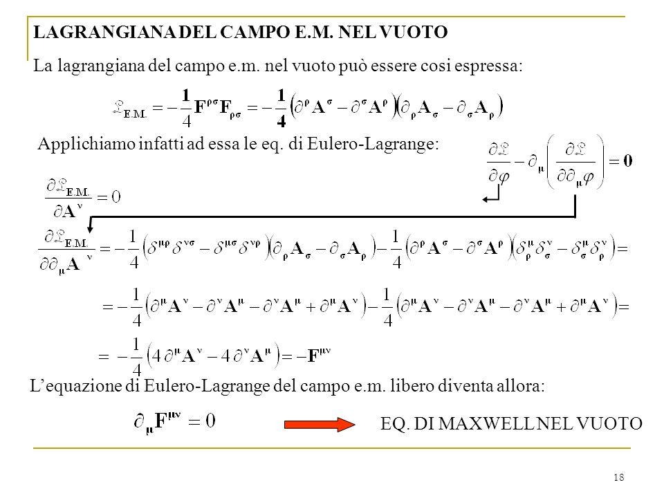  LAGRANGIANA DEL CAMPO E.M. NEL VUOTO