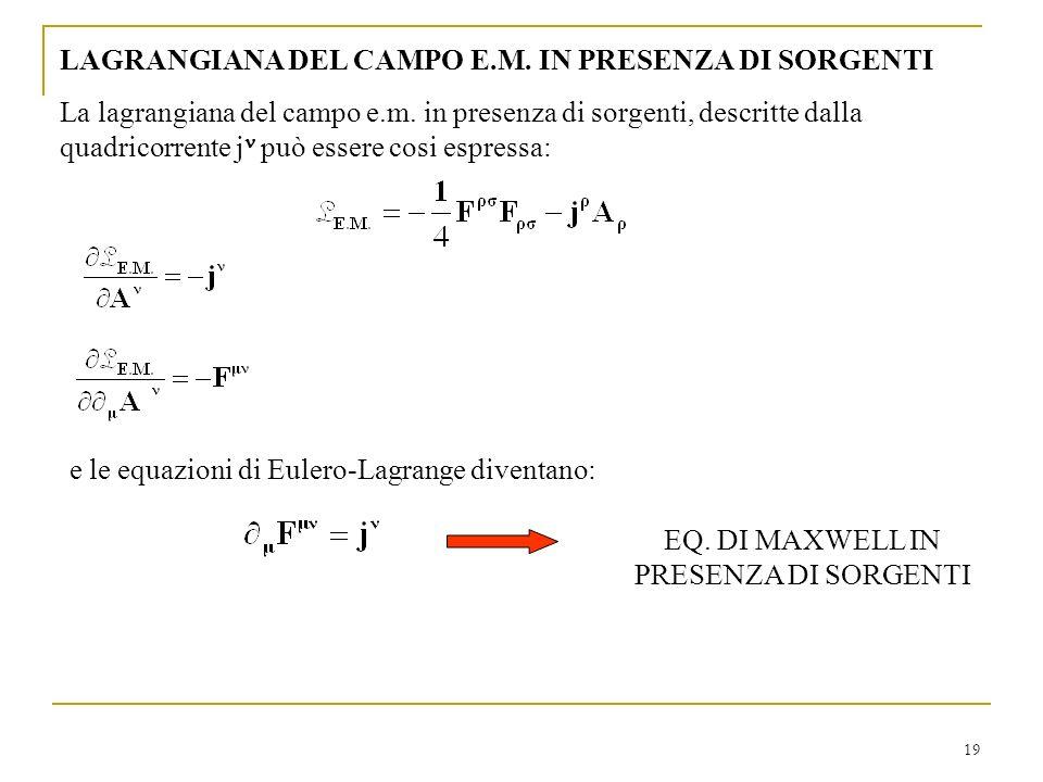 EQ. DI MAXWELL IN PRESENZA DI SORGENTI