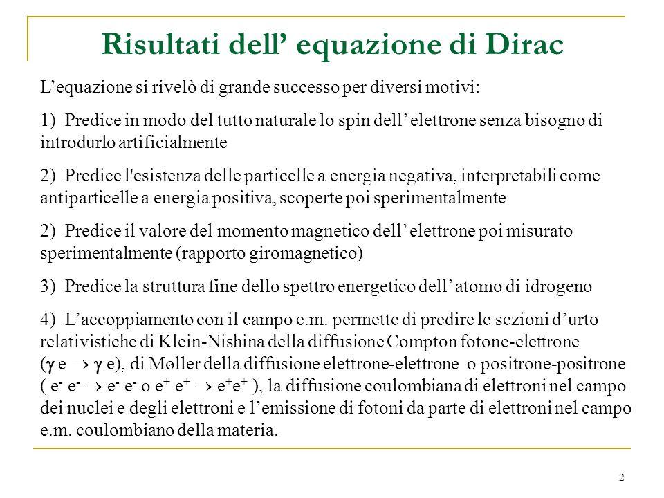 Risultati dell' equazione di Dirac