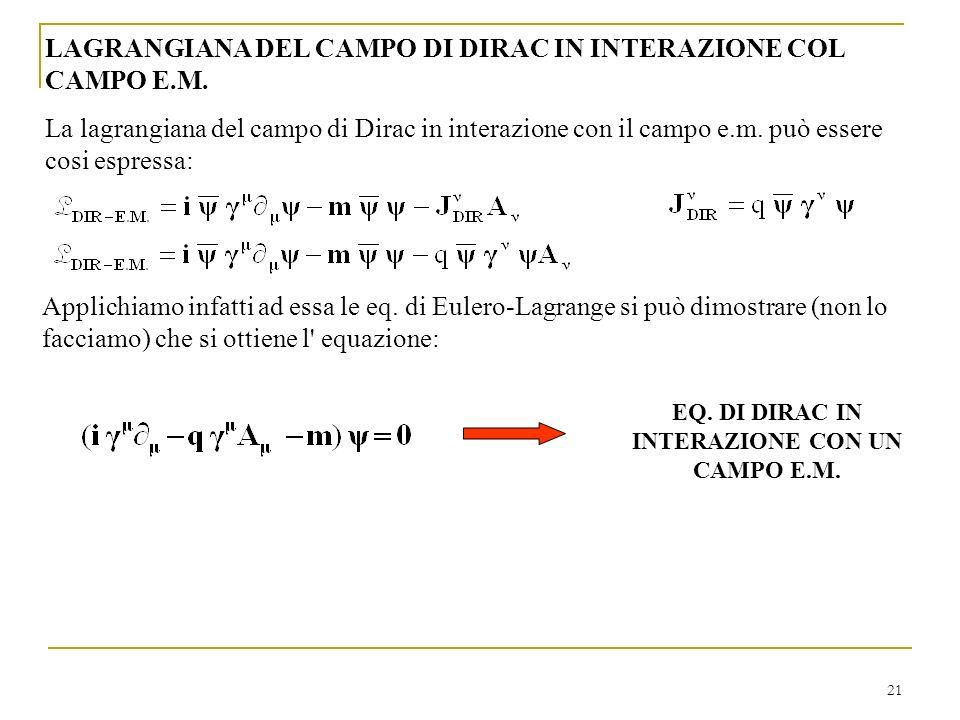 EQ. DI DIRAC IN INTERAZIONE CON UN CAMPO E.M.