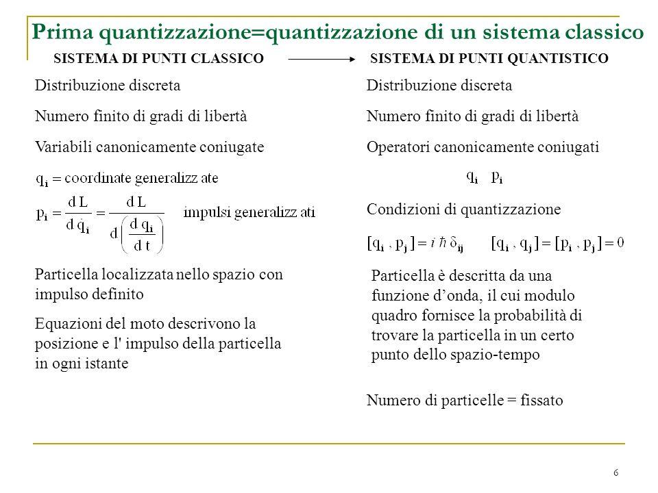 Prima quantizzazione=quantizzazione di un sistema classico