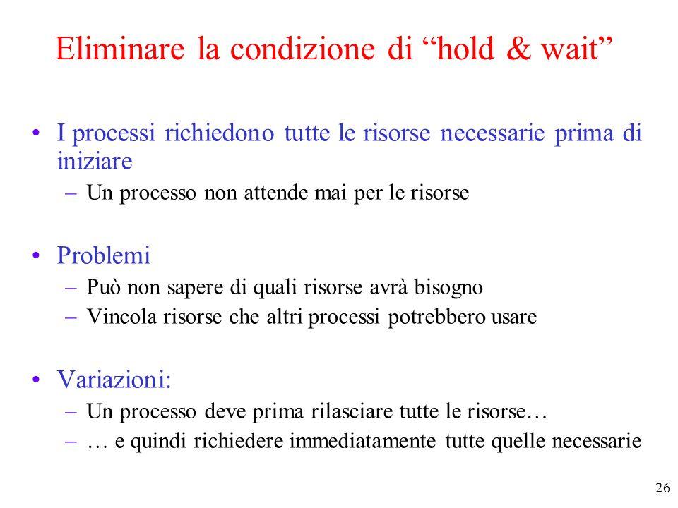 Eliminare la condizione di hold & wait