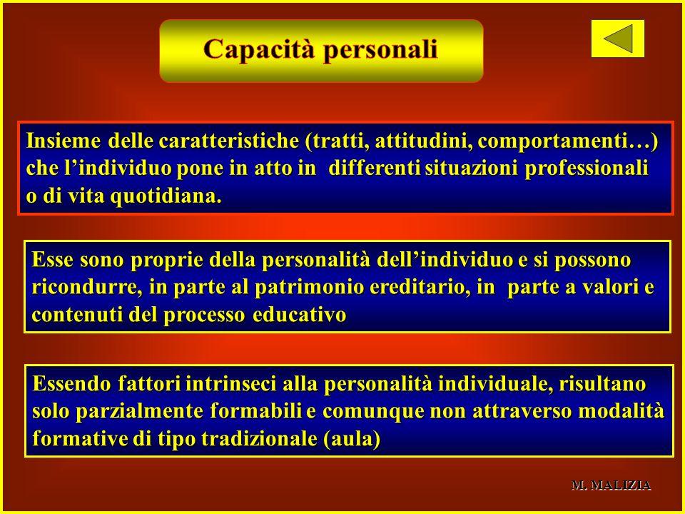 Capacità personaliInsieme delle caratteristiche (tratti, attitudini, comportamenti…)