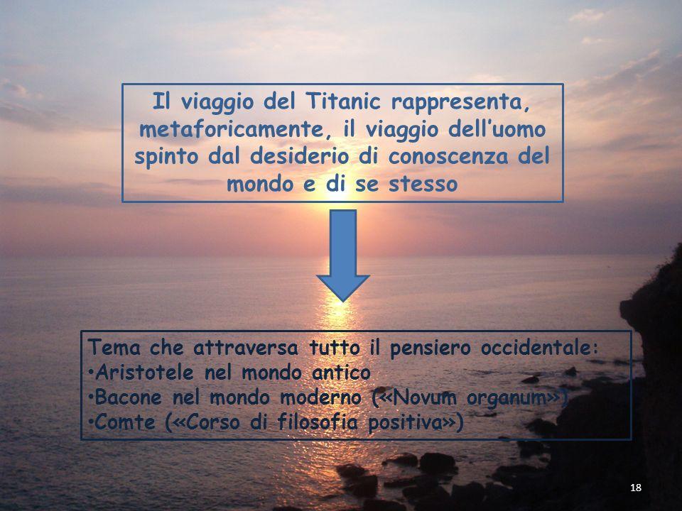 Il viaggio del Titanic rappresenta, metaforicamente, il viaggio dell'uomo spinto dal desiderio di conoscenza del mondo e di se stesso