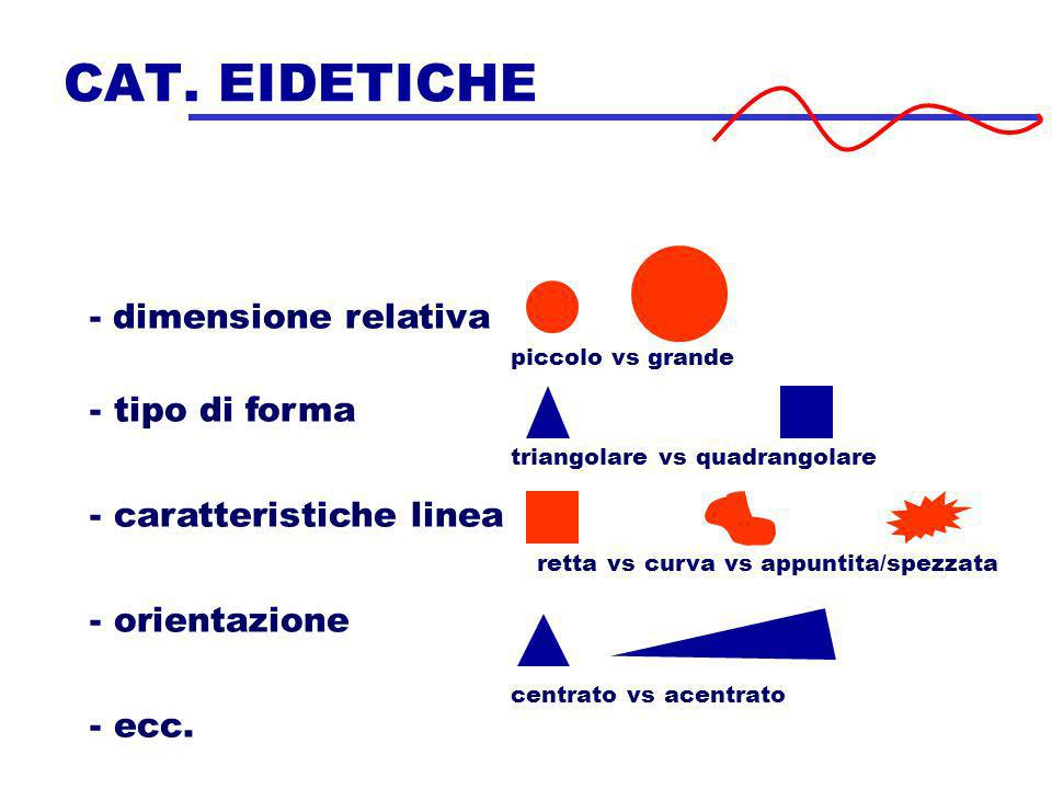 CAT. EIDETICHE - dimensione relativa tipo di forma