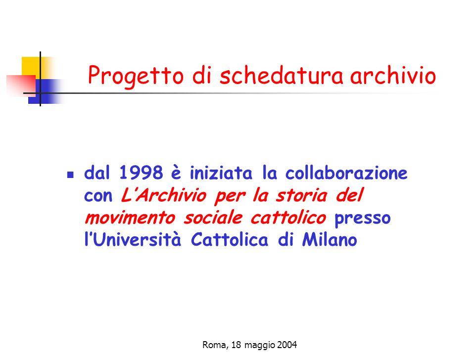Progetto di schedatura archivio