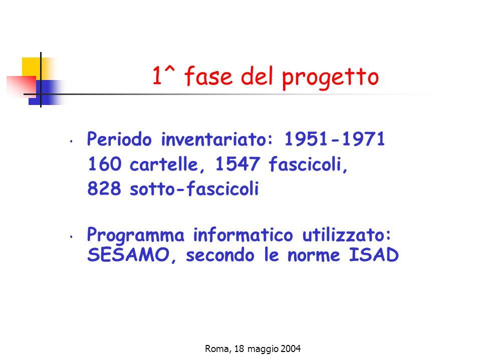 1^ fase del progetto Periodo inventariato: 1951-1971
