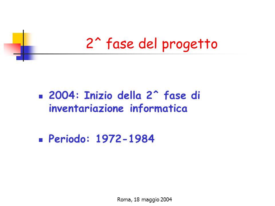 2^ fase del progetto 2004: Inizio della 2^ fase di inventariazione informatica. Periodo: 1972-1984.
