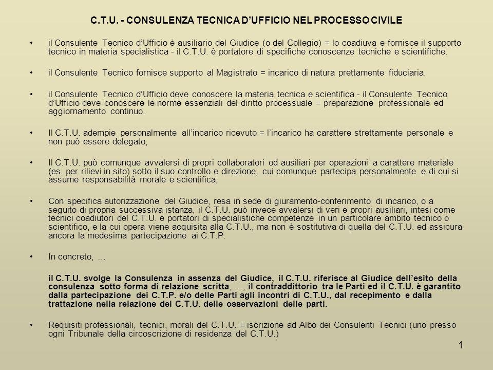 C.T.U. - CONSULENZA TECNICA D'UFFICIO NEL PROCESSO CIVILE