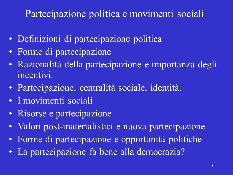 Partecipazione politica e movimenti sociali