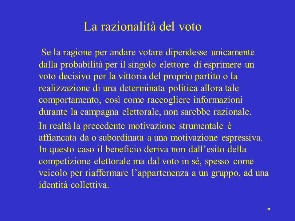 La razionalità del voto