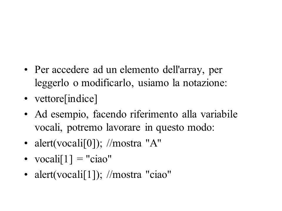 Per accedere ad un elemento dell array, per leggerlo o modificarlo, usiamo la notazione: