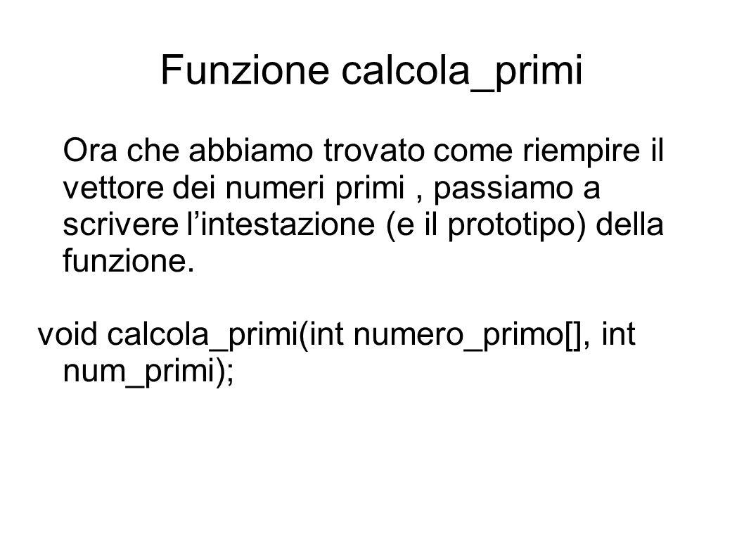 Funzione calcola_primi